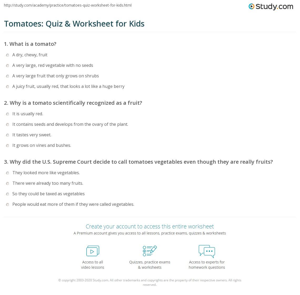 Tomatoes Quiz Amp Worksheet For Kids