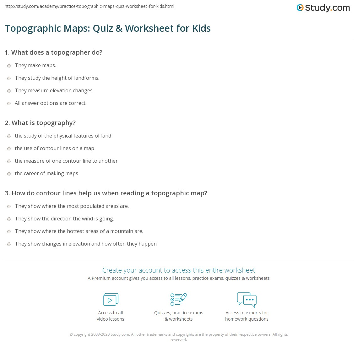 Topographic Maps Quiz Amp Worksheet For Kids