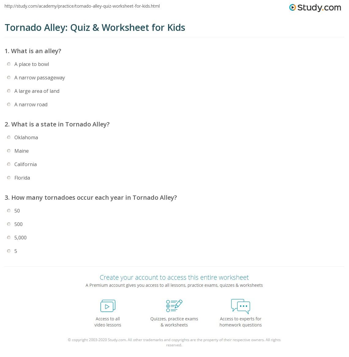 Tornado Alley Quiz Amp Worksheet For Kids