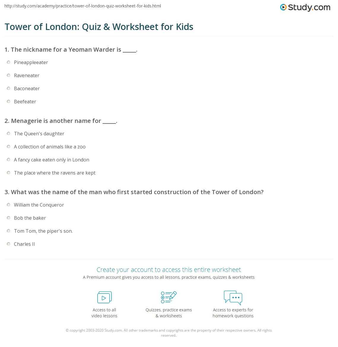 Tower Of London Quiz Amp Worksheet For Kids