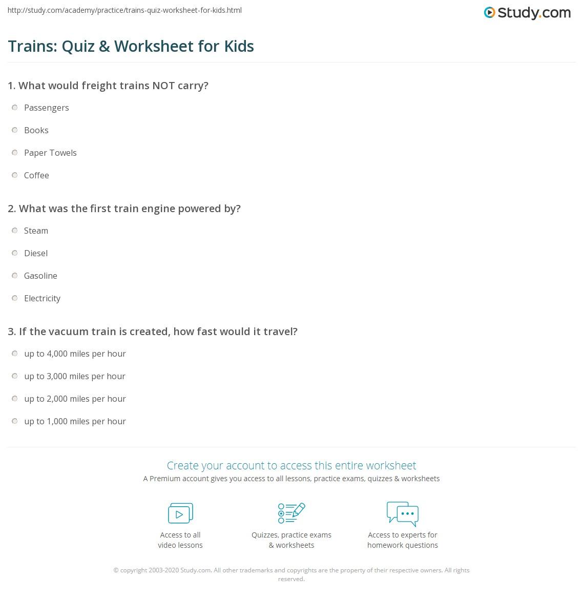 Trains Quiz Amp Worksheet For Kids