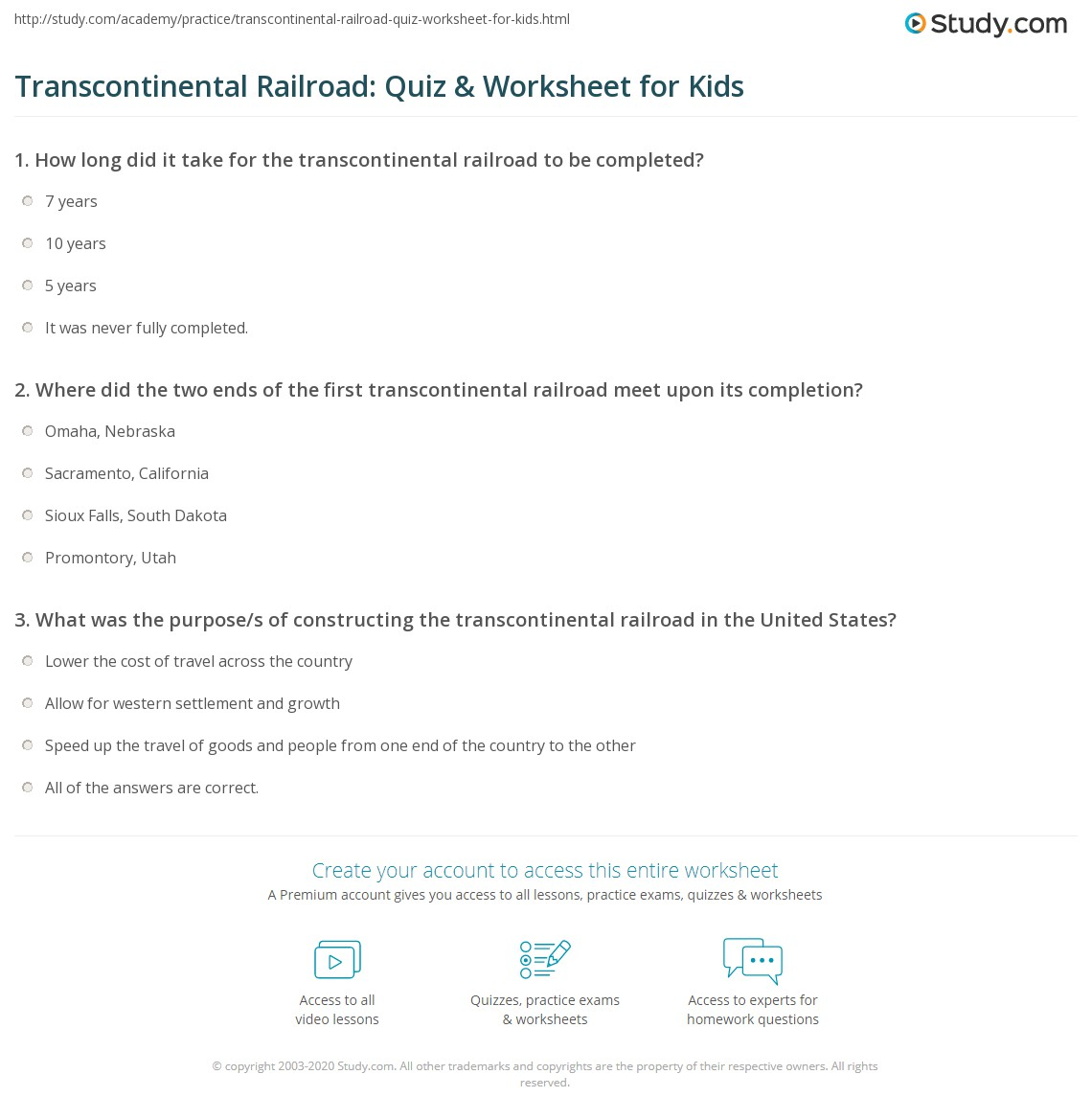 Transcontinental Railroad Quiz Amp Worksheet For Kids