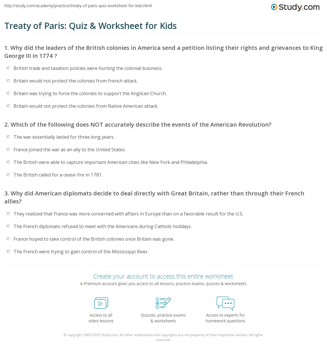 Treaty Of Paris Quiz Amp Worksheet For Kids