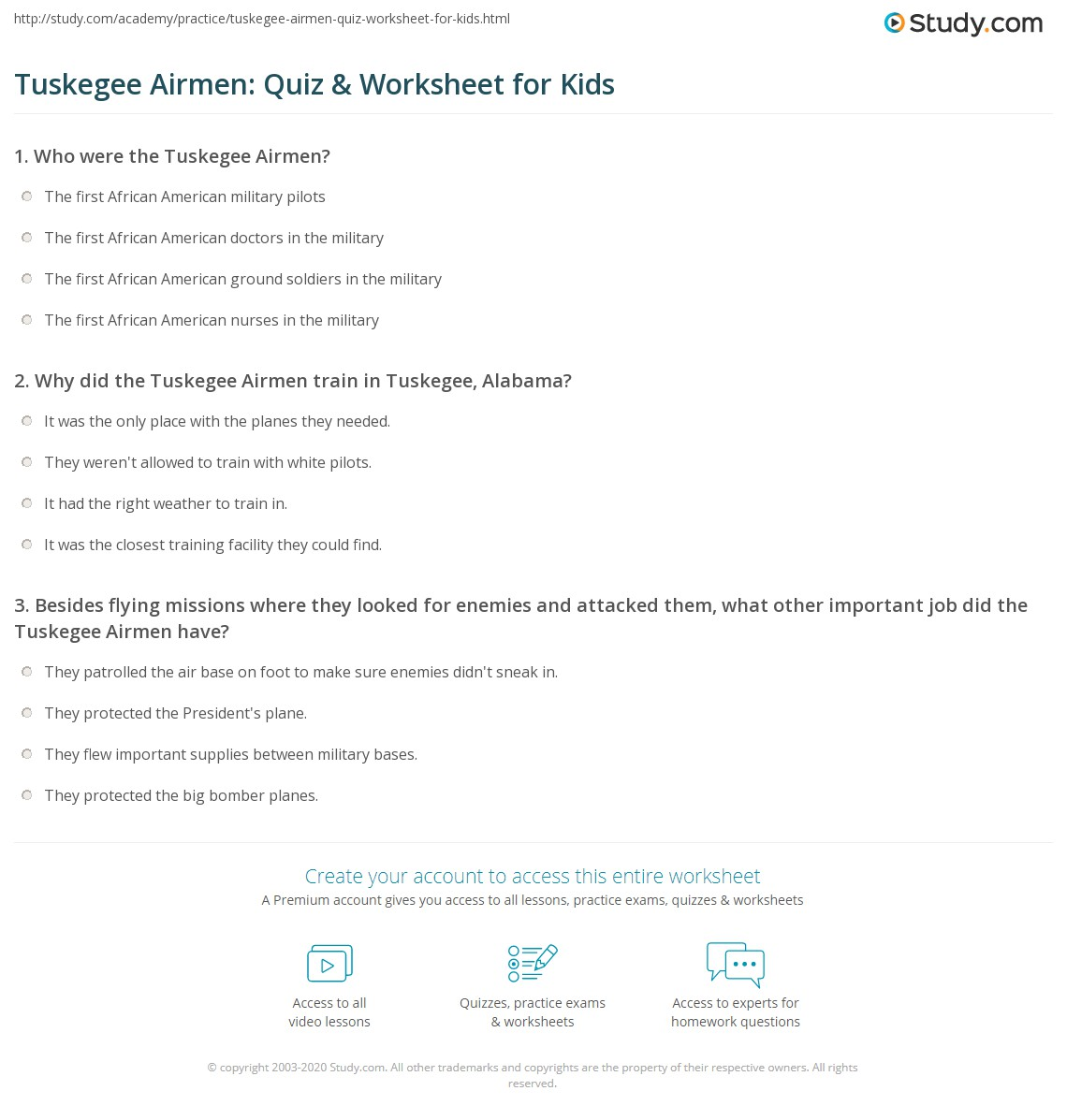 Tuskegee Airmen Quiz Amp Worksheet For Kids