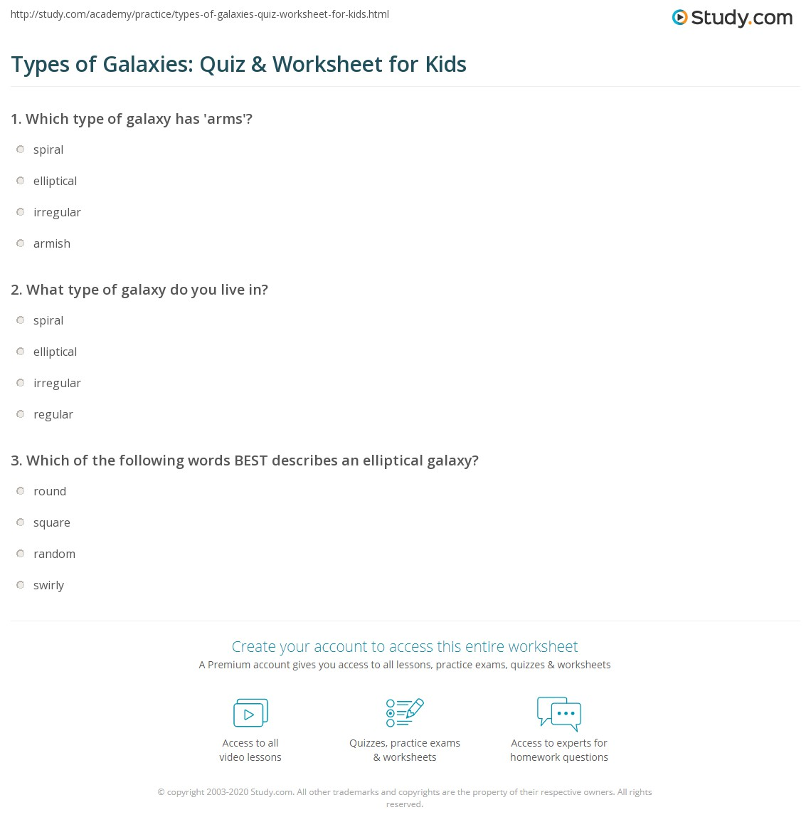 Types Of Galaxies Quiz Amp Worksheet For Kids