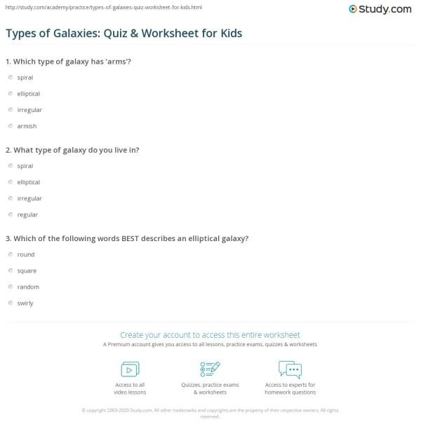 Types of Galaxies Quiz Worksheet for Kids Studycom