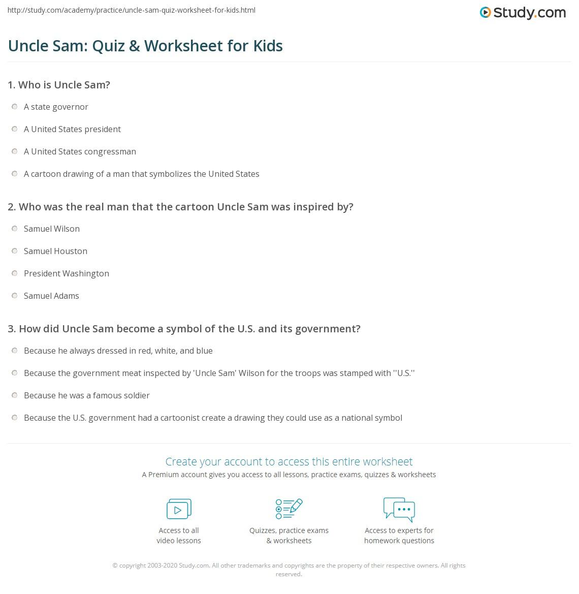 Uncle Sam Quiz Amp Worksheet For Kids