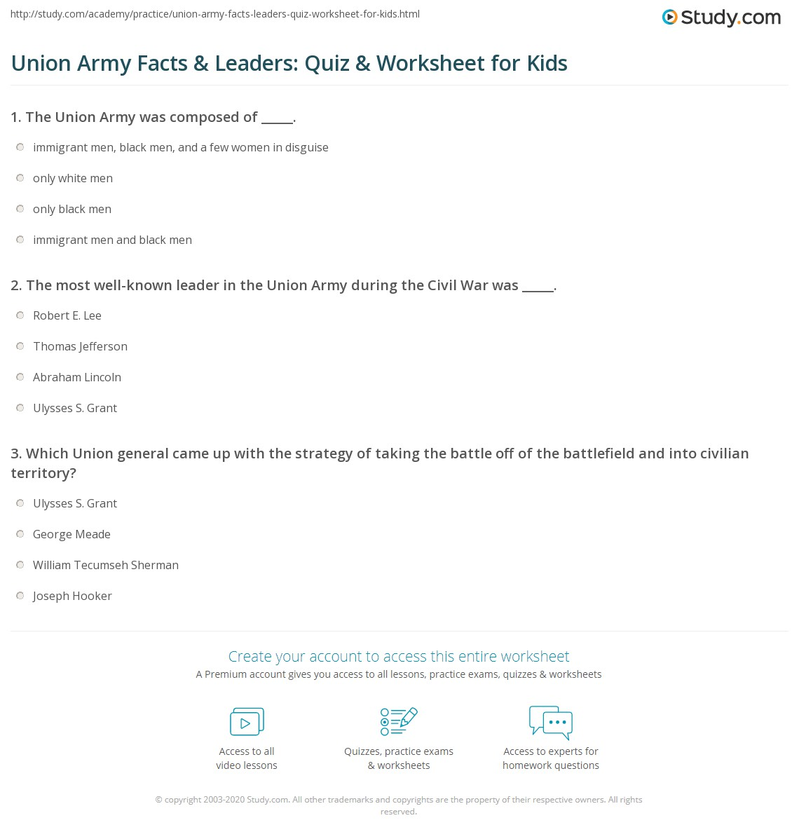 Union Army Facts Amp Leaders Quiz Amp Worksheet For Kids