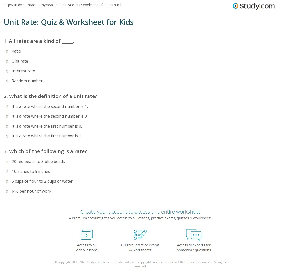 Unit Rate Quiz Amp Worksheet For Kids