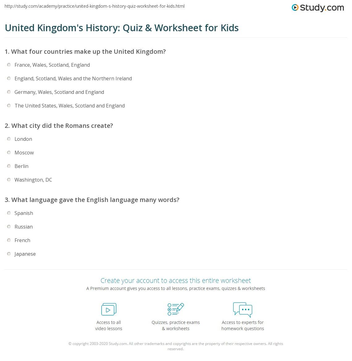 United Kingdom S History Quiz Amp Worksheet For Kids
