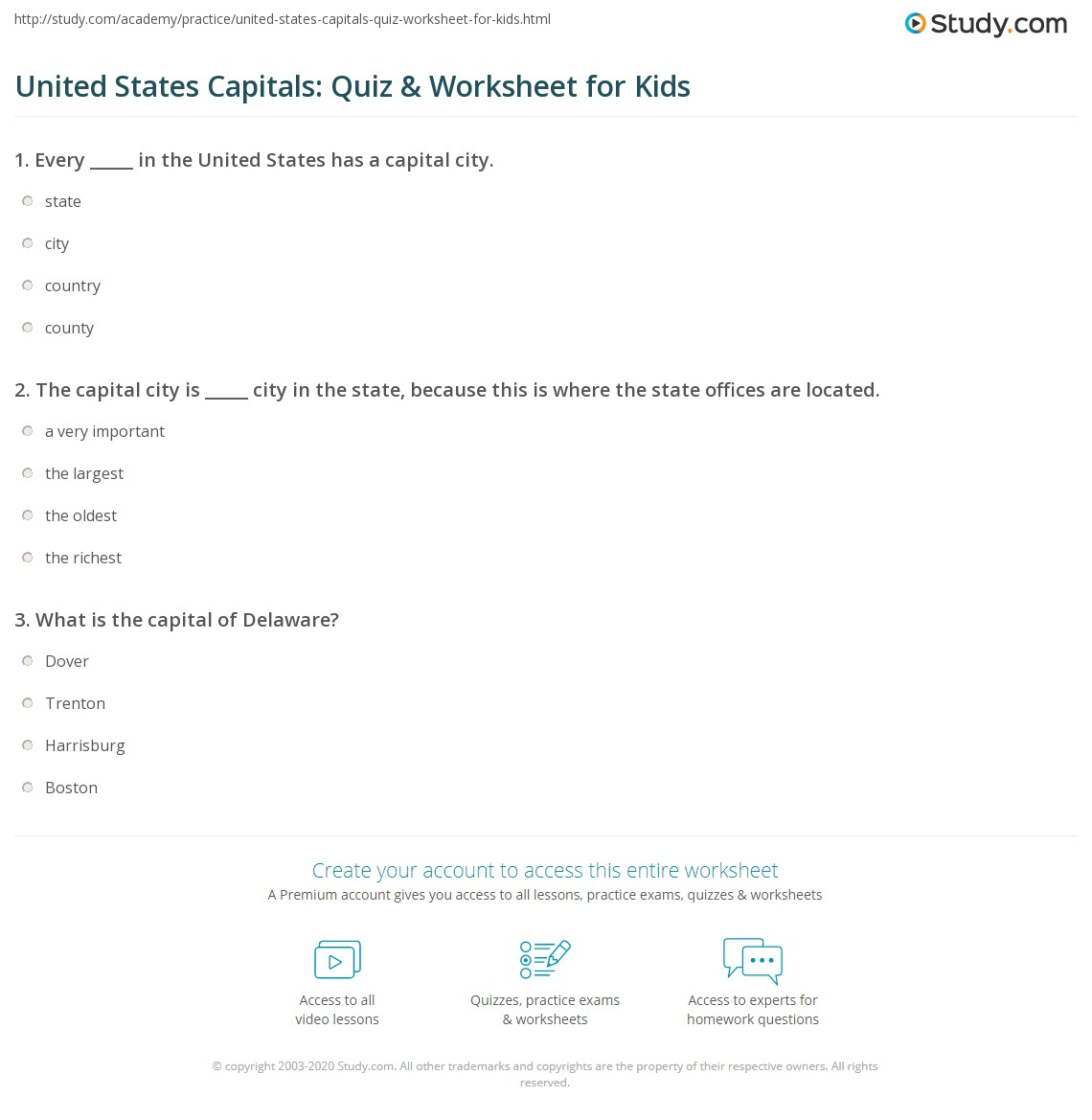United States Capitals Quiz Amp Worksheet For Kids