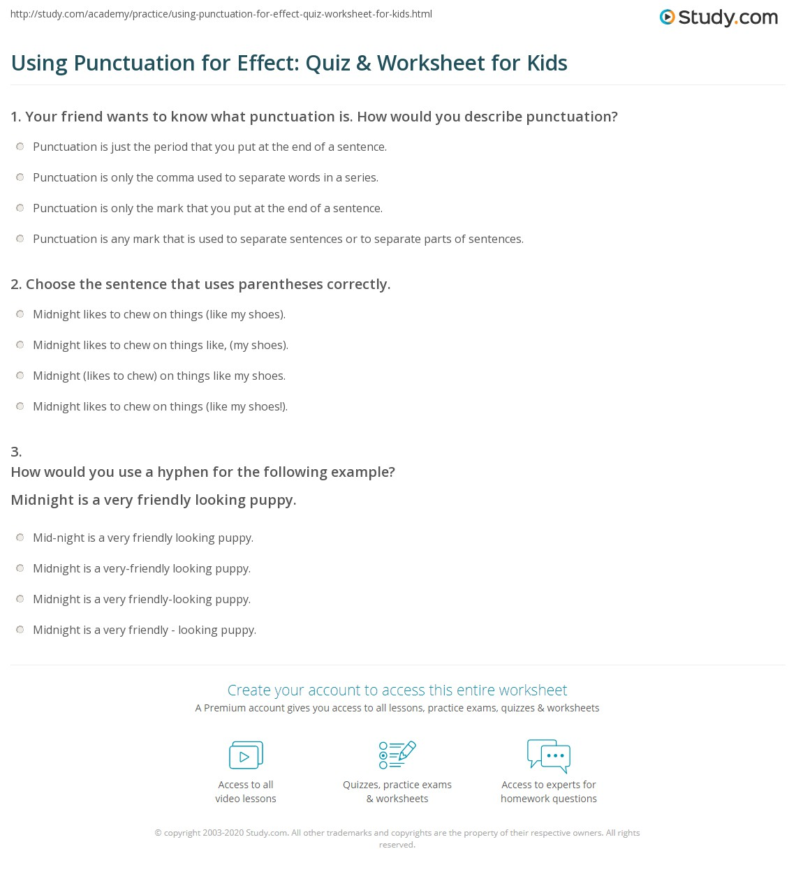 Using Punctuation For Effect Quiz Amp Worksheet For Kids