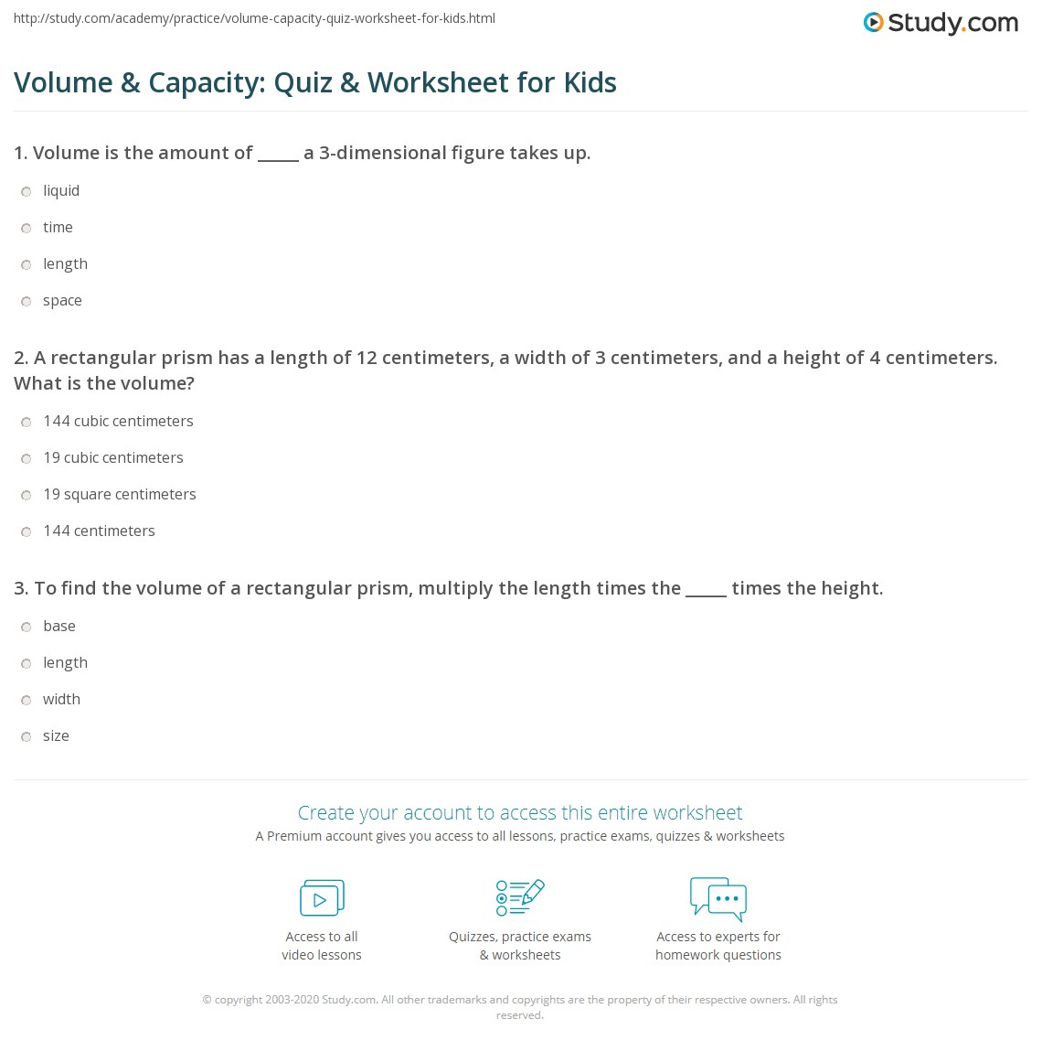 Volume Amp Capacity Quiz Amp Worksheet For Kids