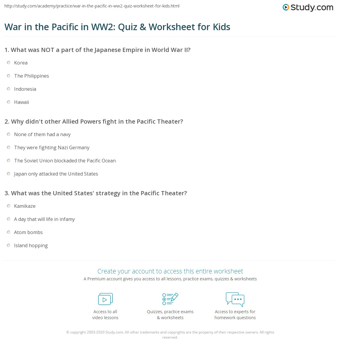War In The Pacific In Ww2 Quiz Amp Worksheet For Kids