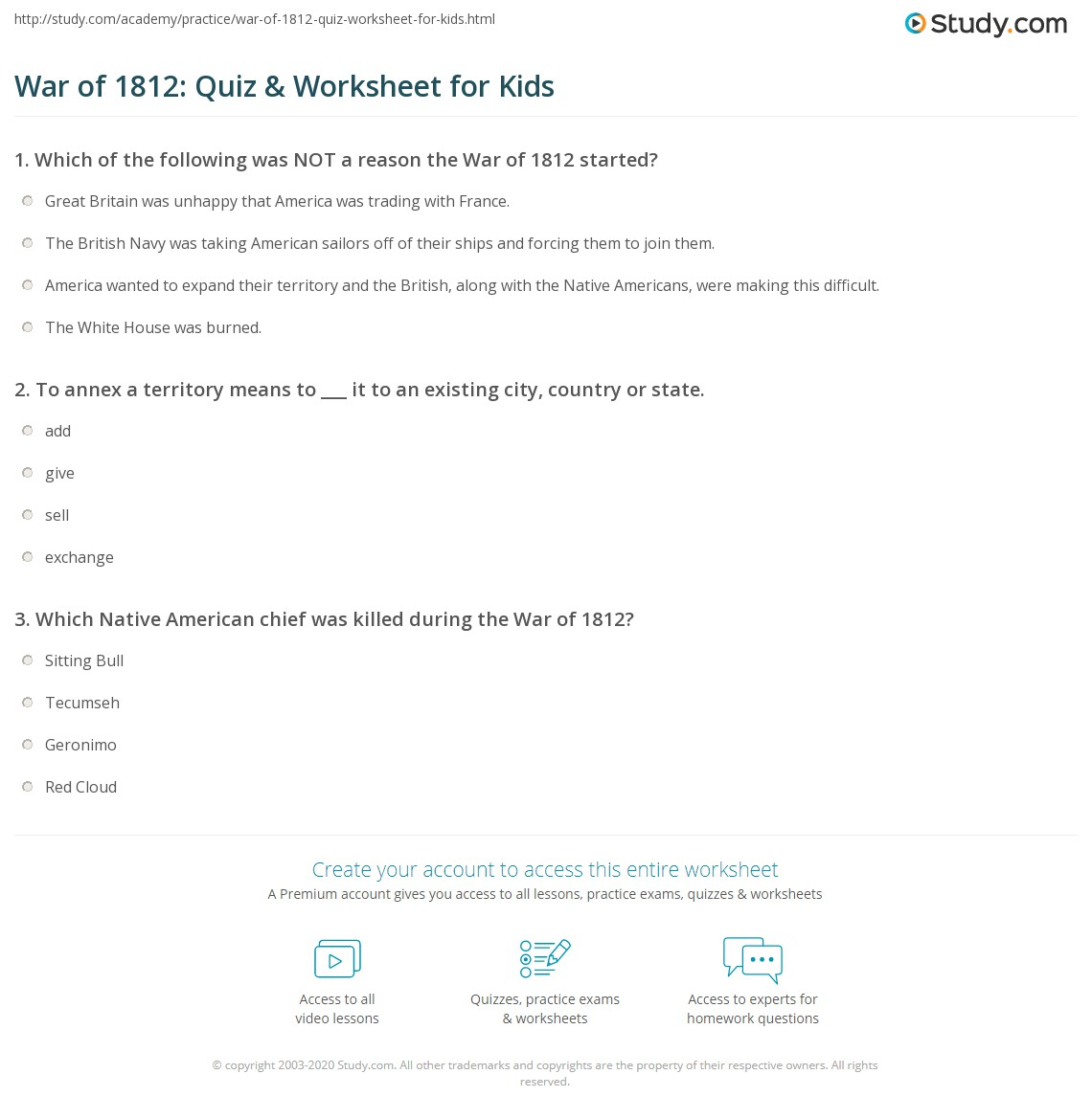War Of Quiz Amp Worksheet For Kids
