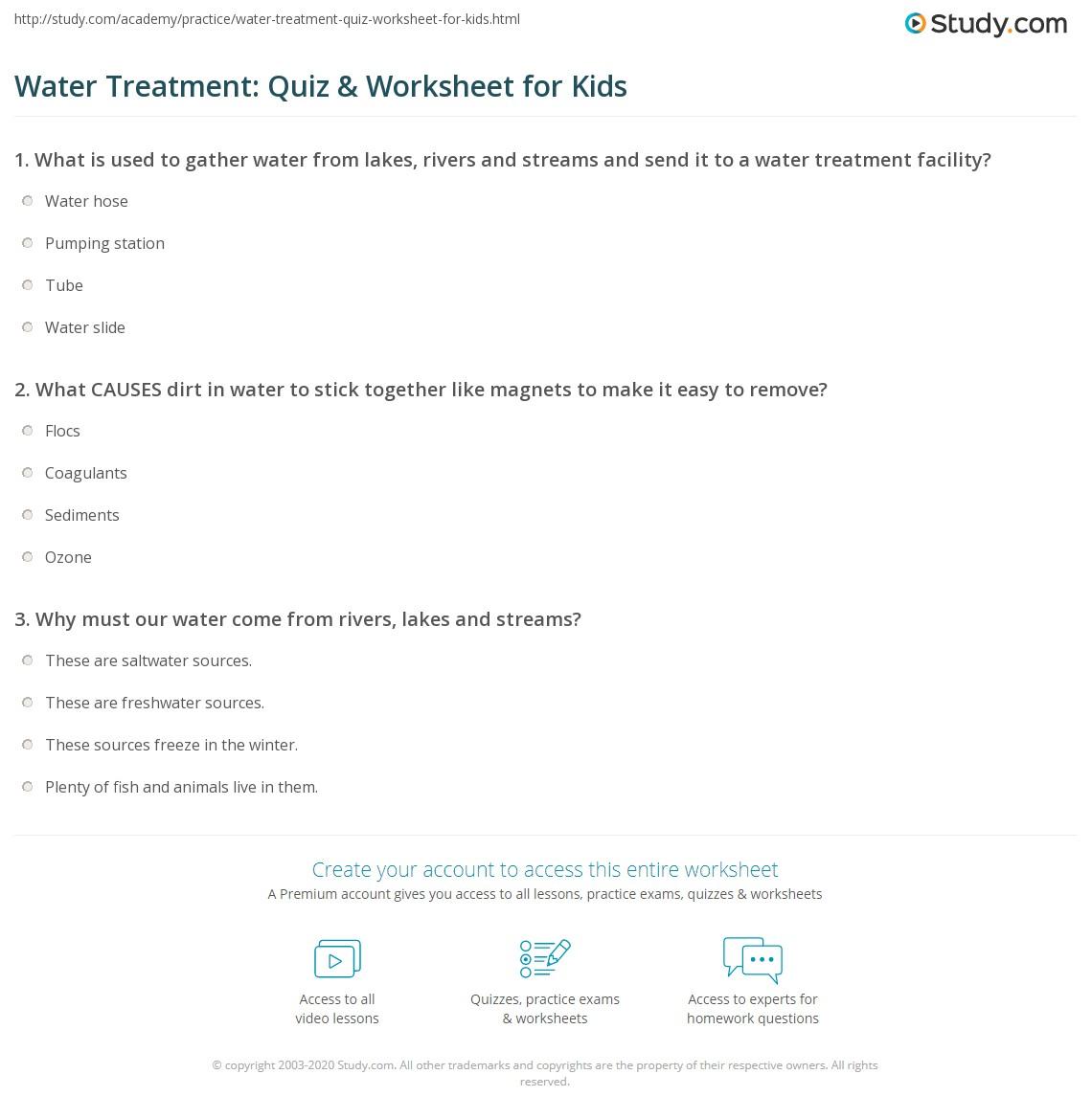 Water Treatment Quiz Amp Worksheet For Kids