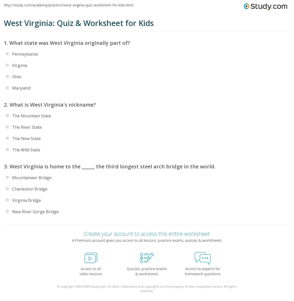 West Virginia Quiz Amp Worksheet For Kids