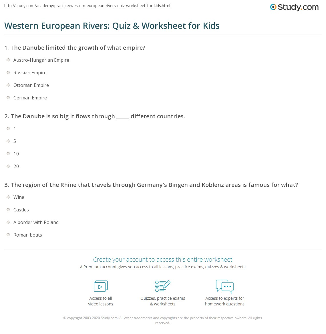 Western European Rivers Quiz Amp Worksheet For Kids