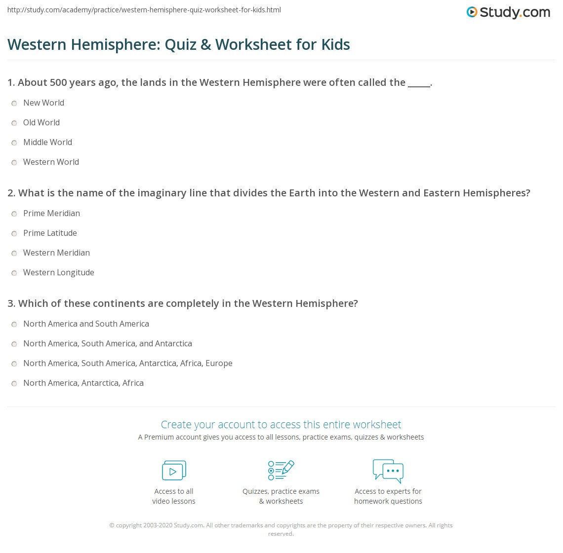 Western Hemisphere Quiz Amp Worksheet For Kids