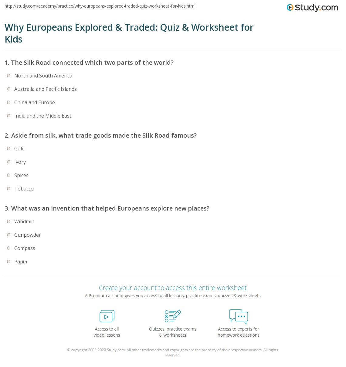 Why Europeans Explored Amp Traded Quiz Amp Worksheet For Kids