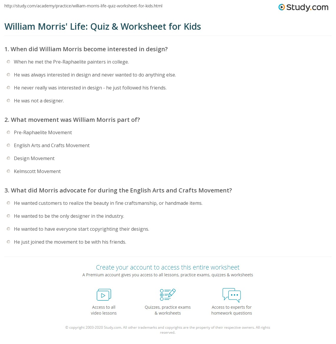 William Morris Life Quiz Amp Worksheet For Kids