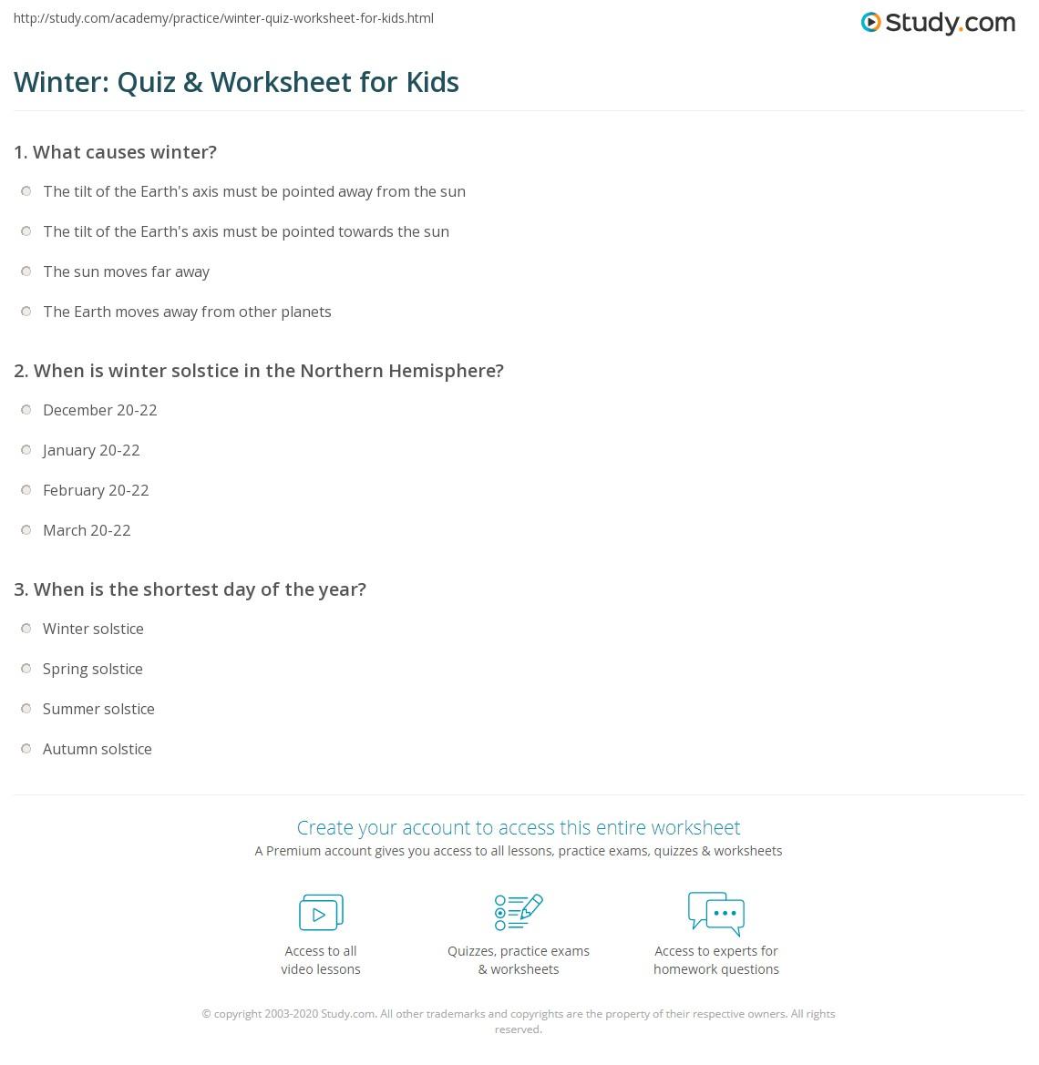 Winter Quiz Amp Worksheet For Kids