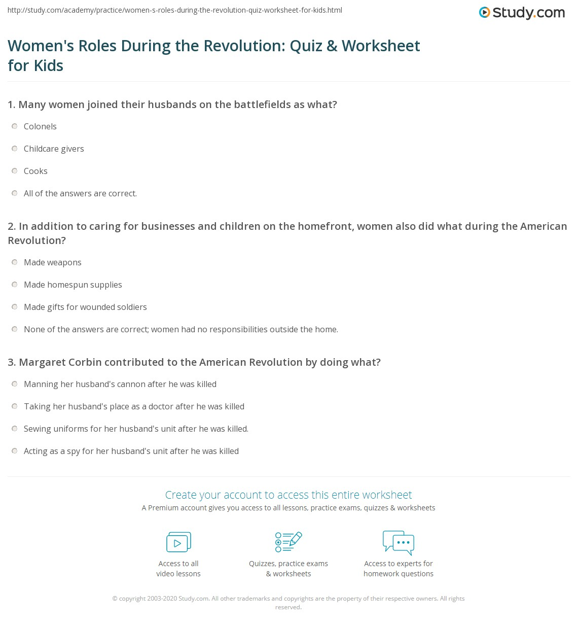 Women S Roles During The Revolution Quiz Amp Worksheet For