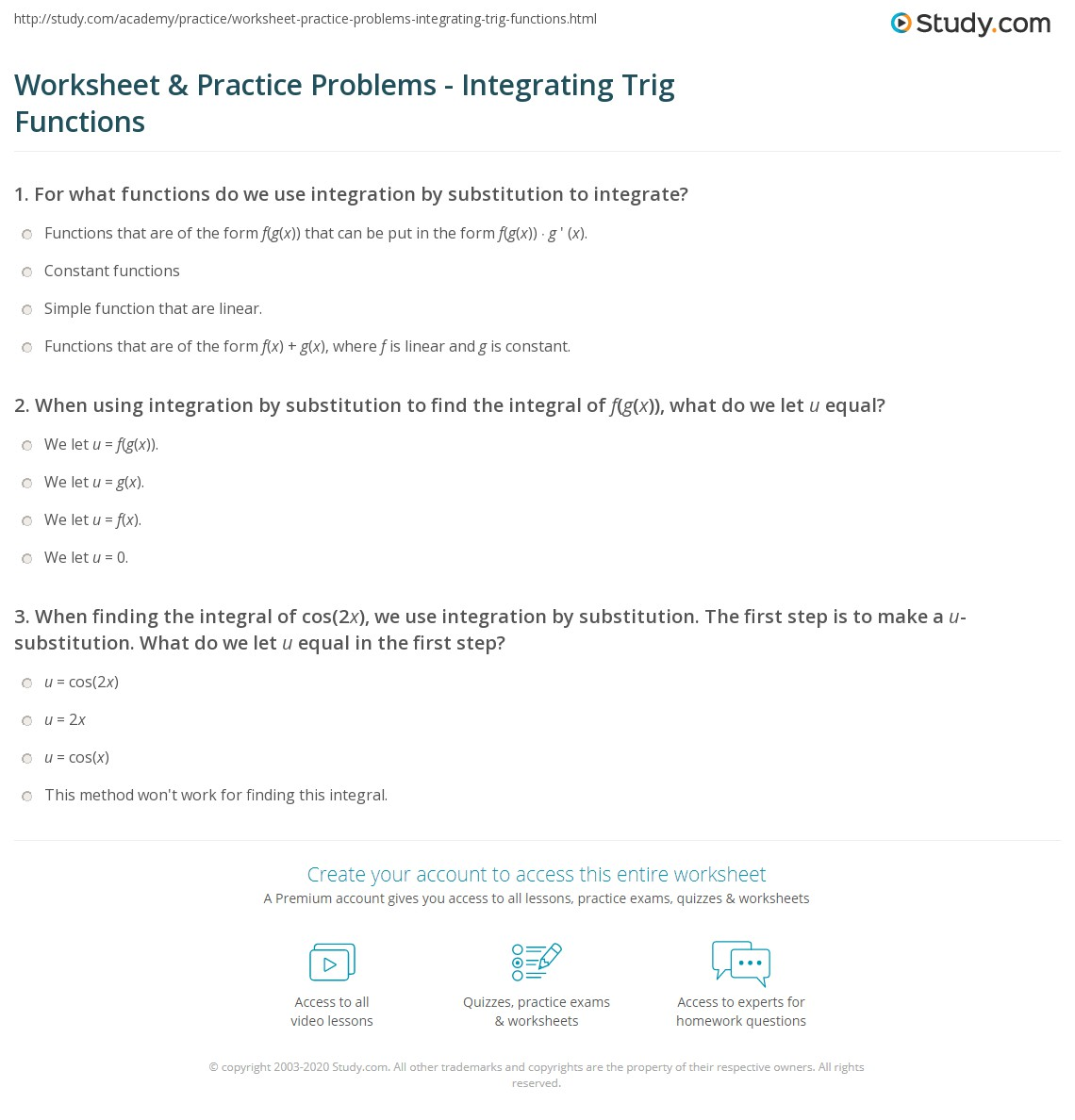 Worksheet Amp Practice Problems
