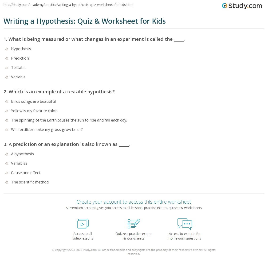Writing A Hypothesis Quiz Amp Worksheet For Kids