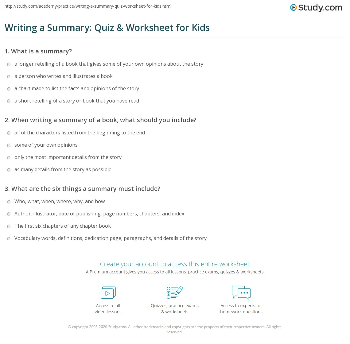 Writing A Summary Quiz Amp Worksheet For Kids