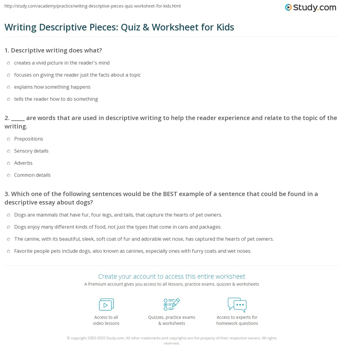 Writing Descriptive Pieces Quiz Amp Worksheet For Kids