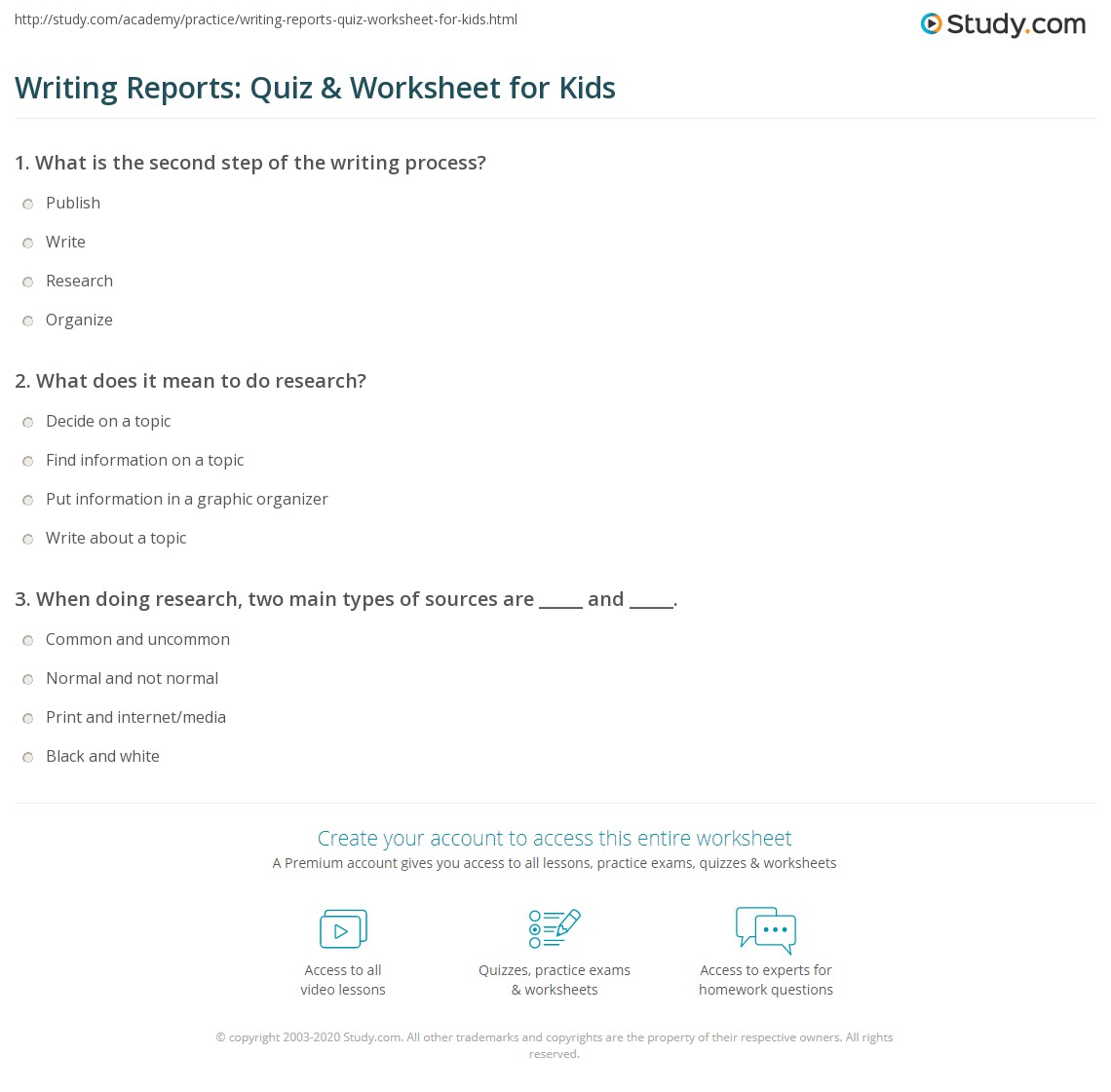 Writing Reports Quiz Amp Worksheet For Kids