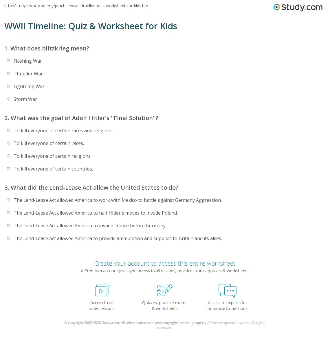 Wwii Timeline Quiz Amp Worksheet For Kids