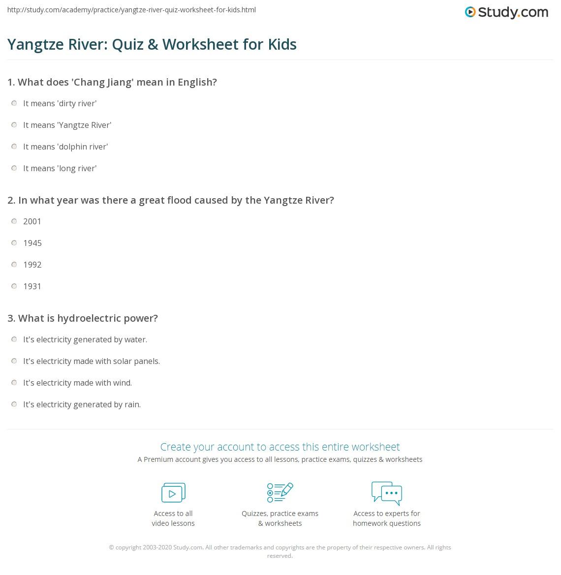 Yangtze River Quiz Amp Worksheet For Kids