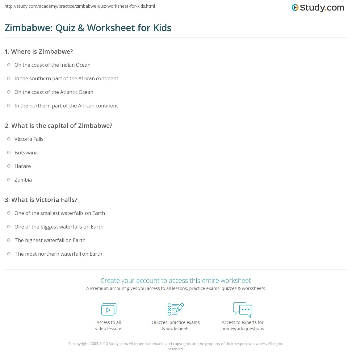 Zimbabwe Quiz Amp Worksheet For Kids