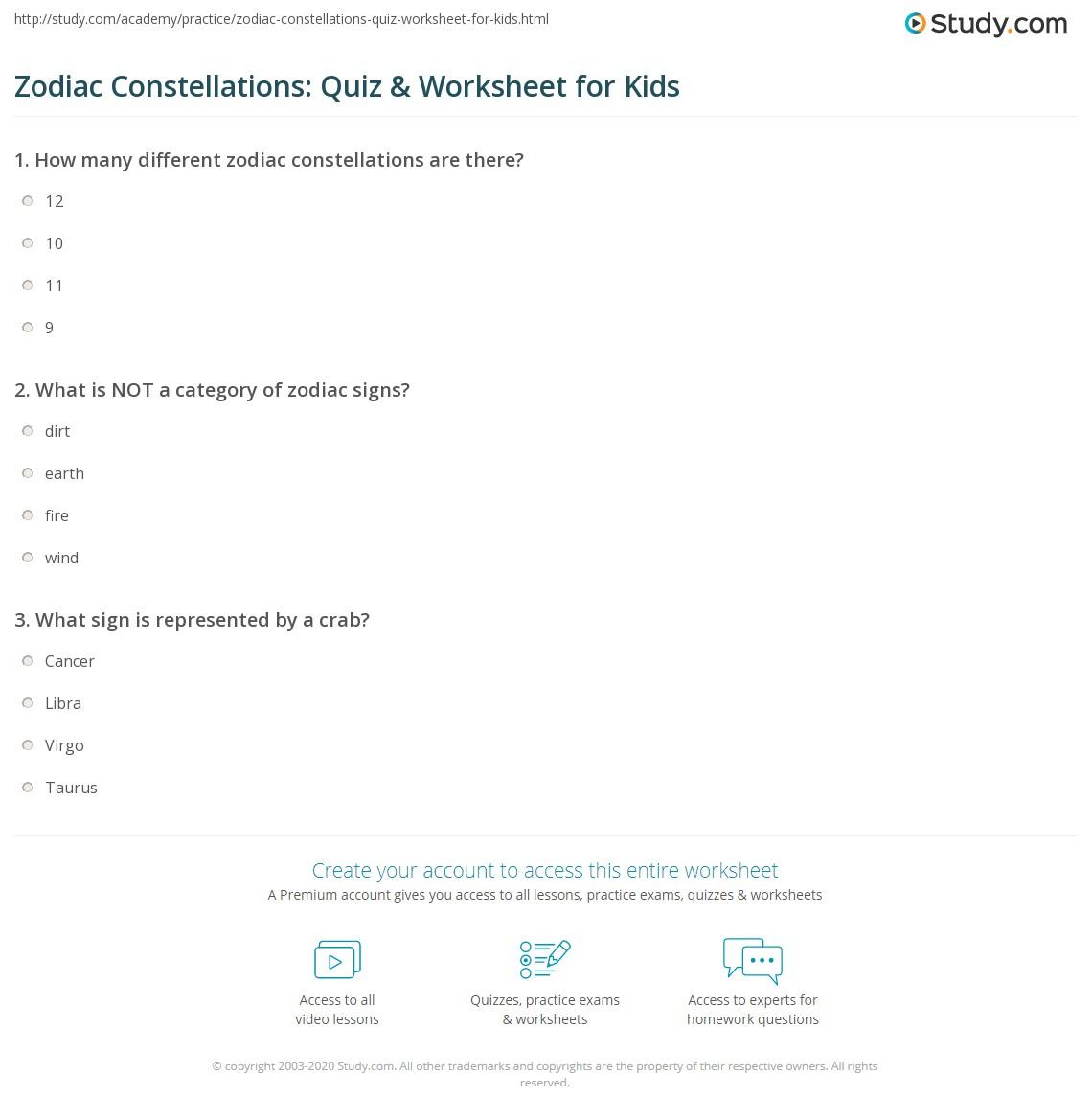 Zodiac Constellations Quiz Amp Worksheet For Kids