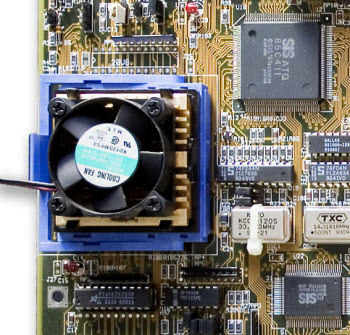 CPU with heatsink and fan to cool down hot computer processors