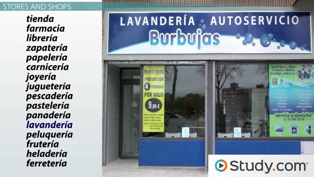 spanish stores shopping vocabulary video