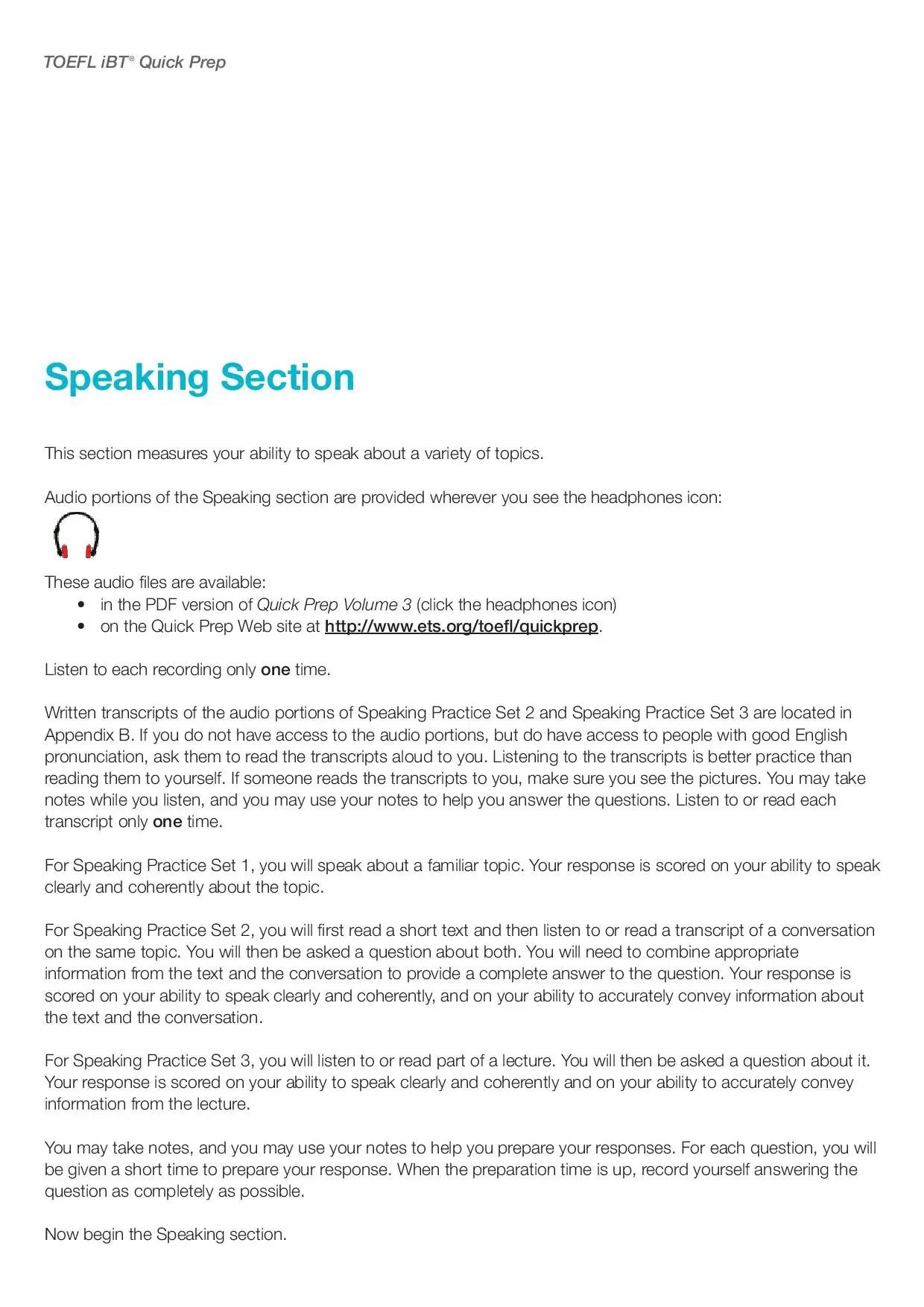 TOEFL Speaking Practice   Free TOEFL Test Online for students