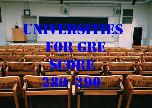 Universities for GRE score 280 290