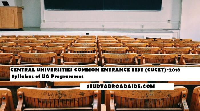 CENTRAL UNIVERSITIES COMMON ENTRANCE TEST (CUCET)-2018 Syllabus of UG Programmes