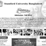 Stamford University Bangladesh Admission Fall 2016