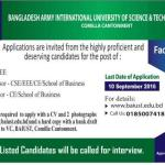 Bangladesh army International University of Science & Technology University, Comilla Cantonment  Faculty Search