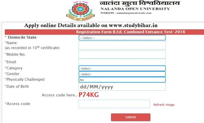 Registration form to Apply online bed cet 2018 bihar