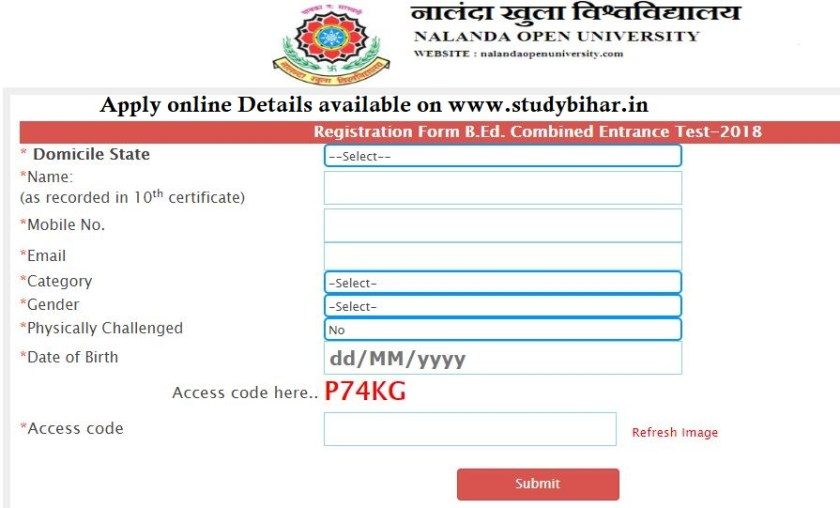 Registration form to Apply online bed cet 2018 bihar