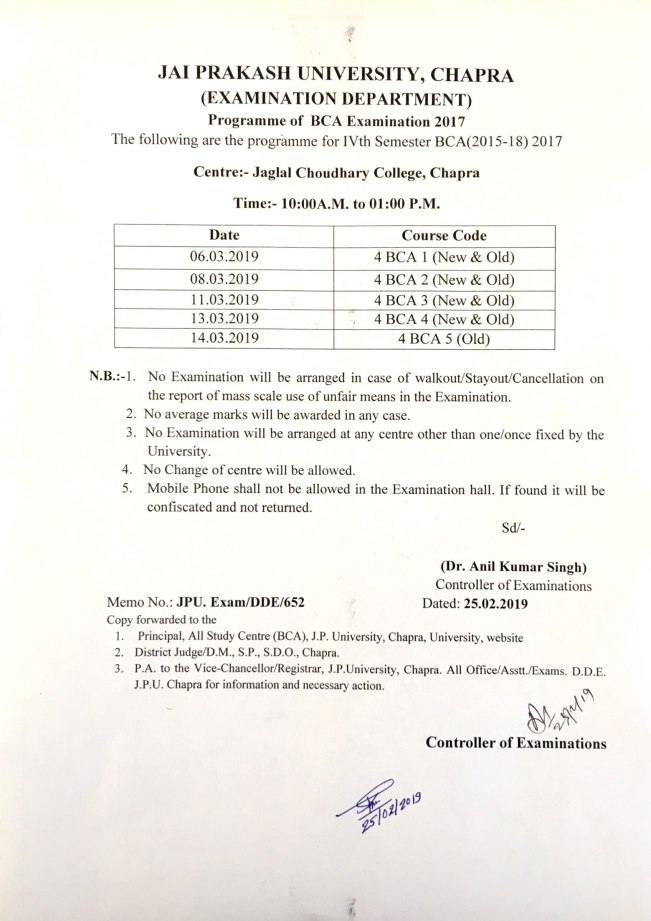 Programme for BCA (2015-18) IVth Semester Examination-2017