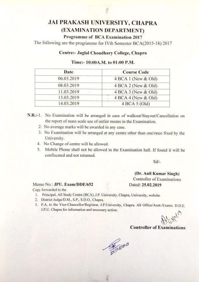 Programme for BCA (2015-18) IVth Semester Examination-2017
