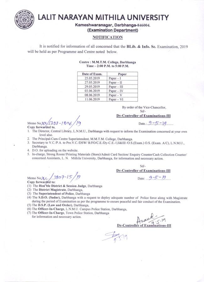 NOTIFICATION -Programme & Centre - B.Lib. & Info. Sc. Examination, 2019
