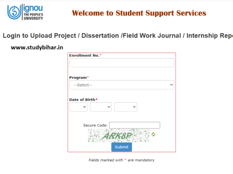 IGNOU Online Project Upload Link