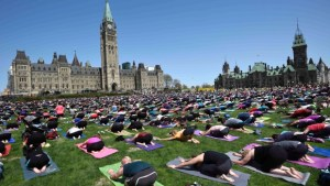 Students do yoga in Ottawa
